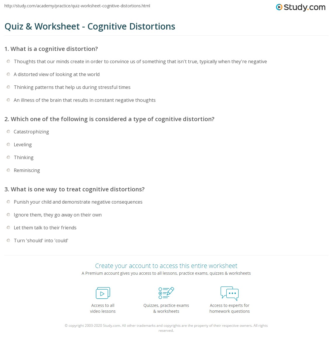 Printables Cognitive Distortions Worksheet Beyoncenetworth Worksheets Printables