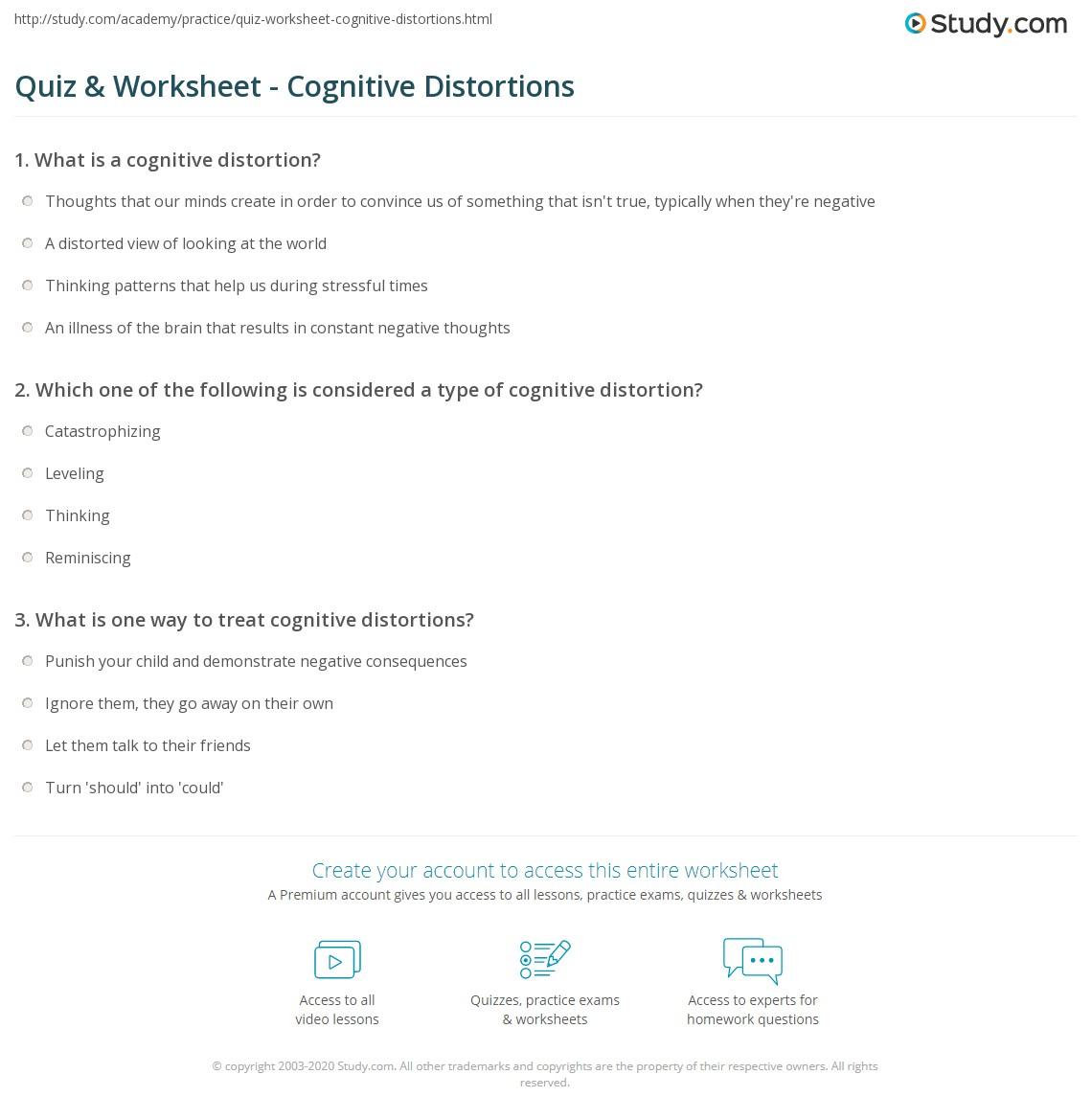 Worksheets Cognitive Distortions Self Help