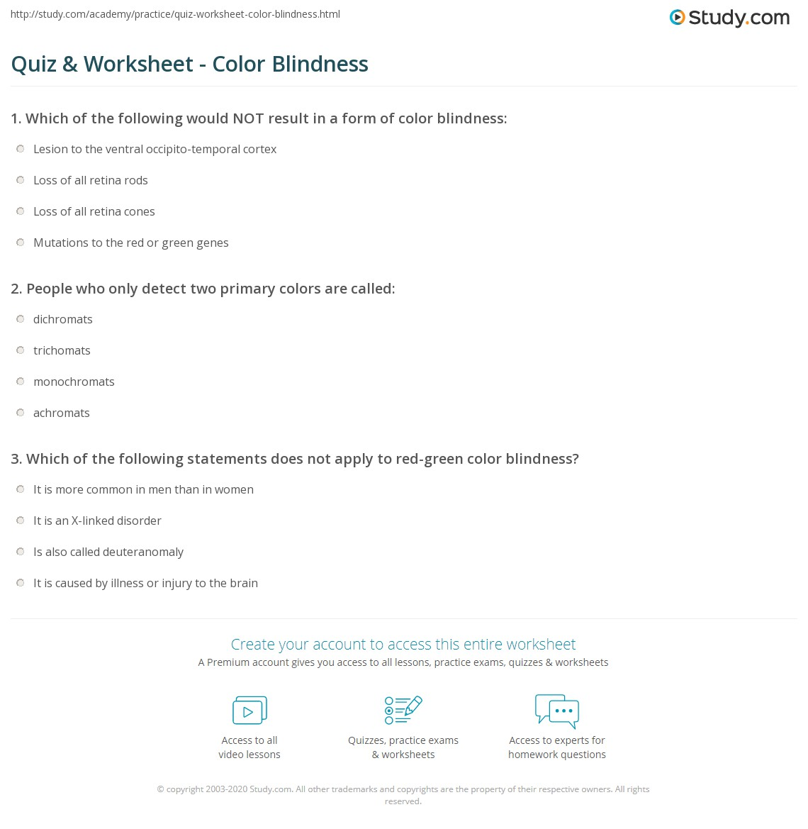Color Blindness Worksheet Answers