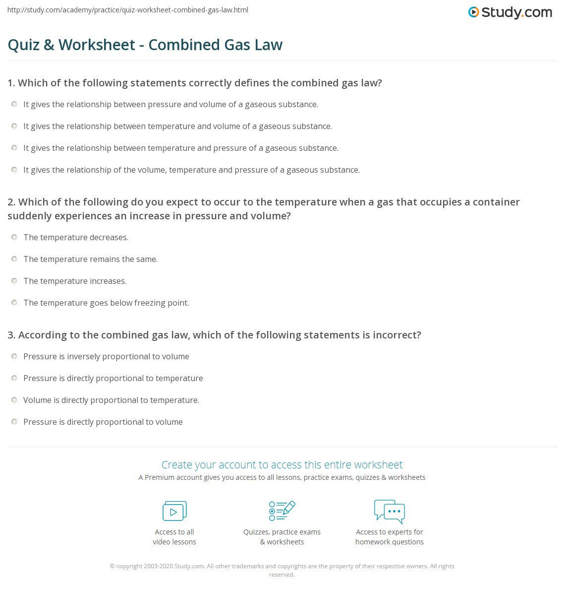 Combined Gas Law Worksheet Answers