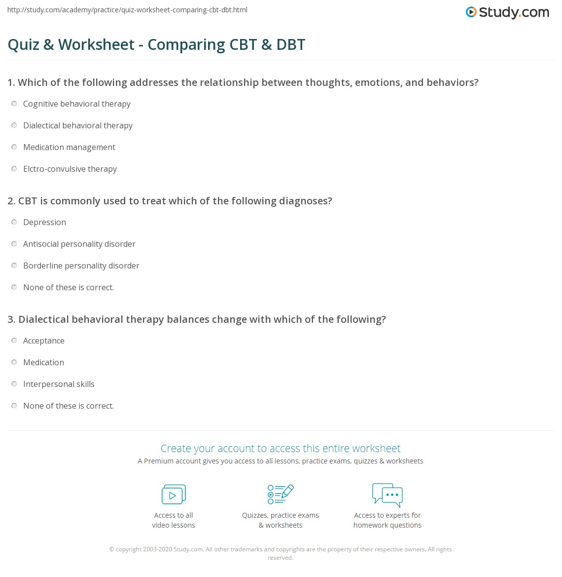 Cbt Worksheets For Adults