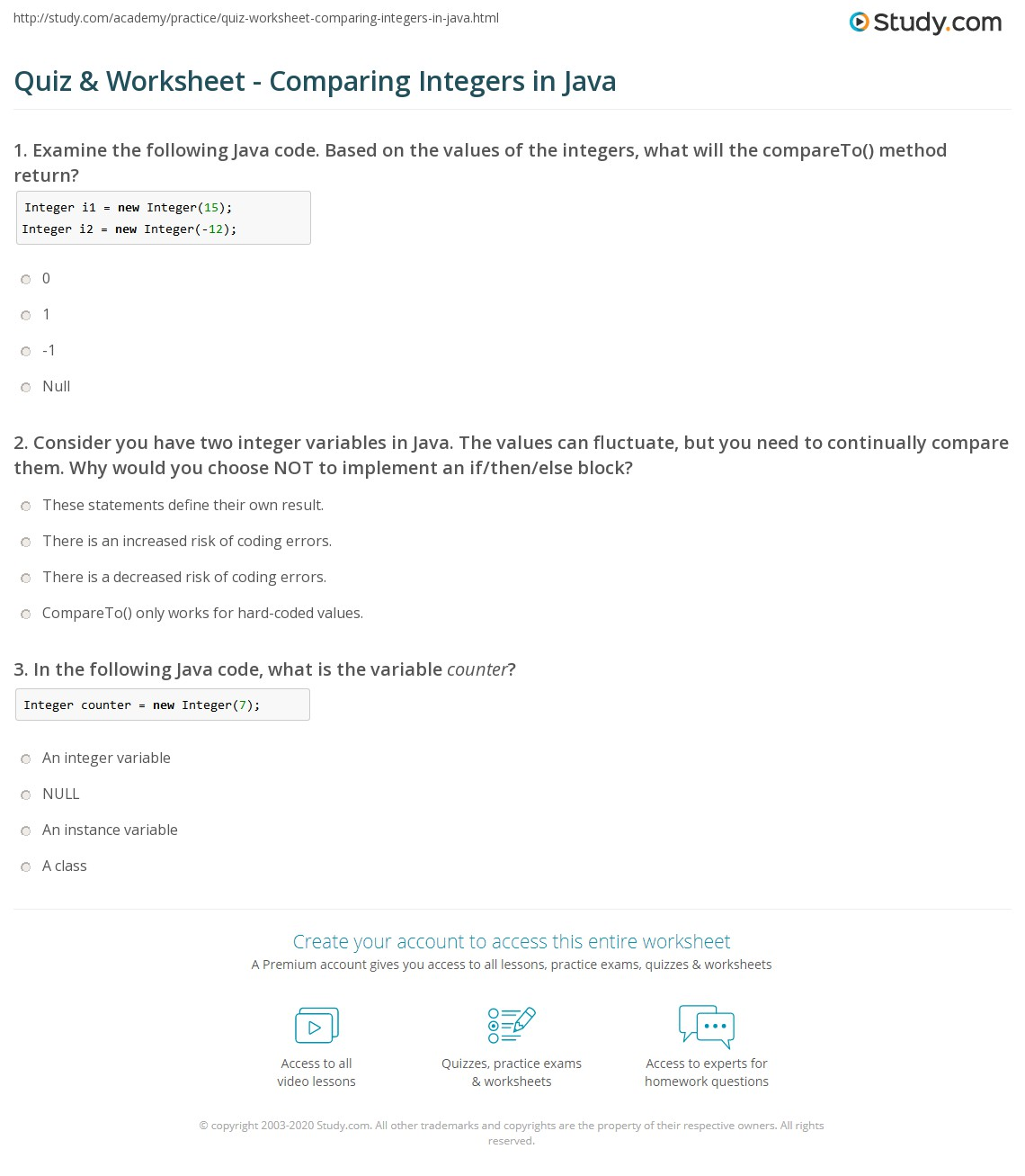 If Statement Worksheet Java