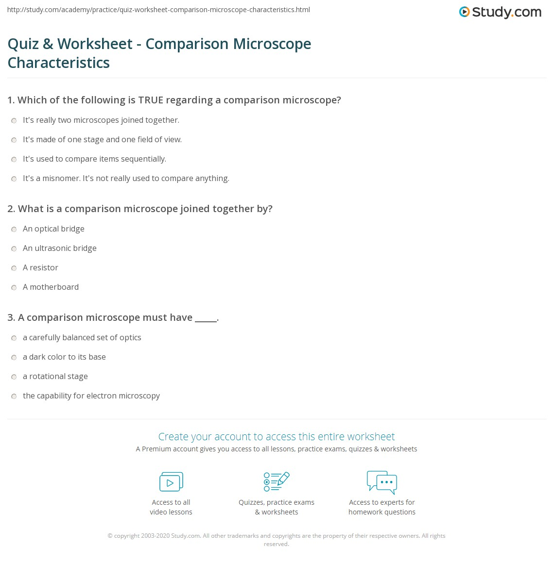 Comparing Microscopes Worksheet Tutore