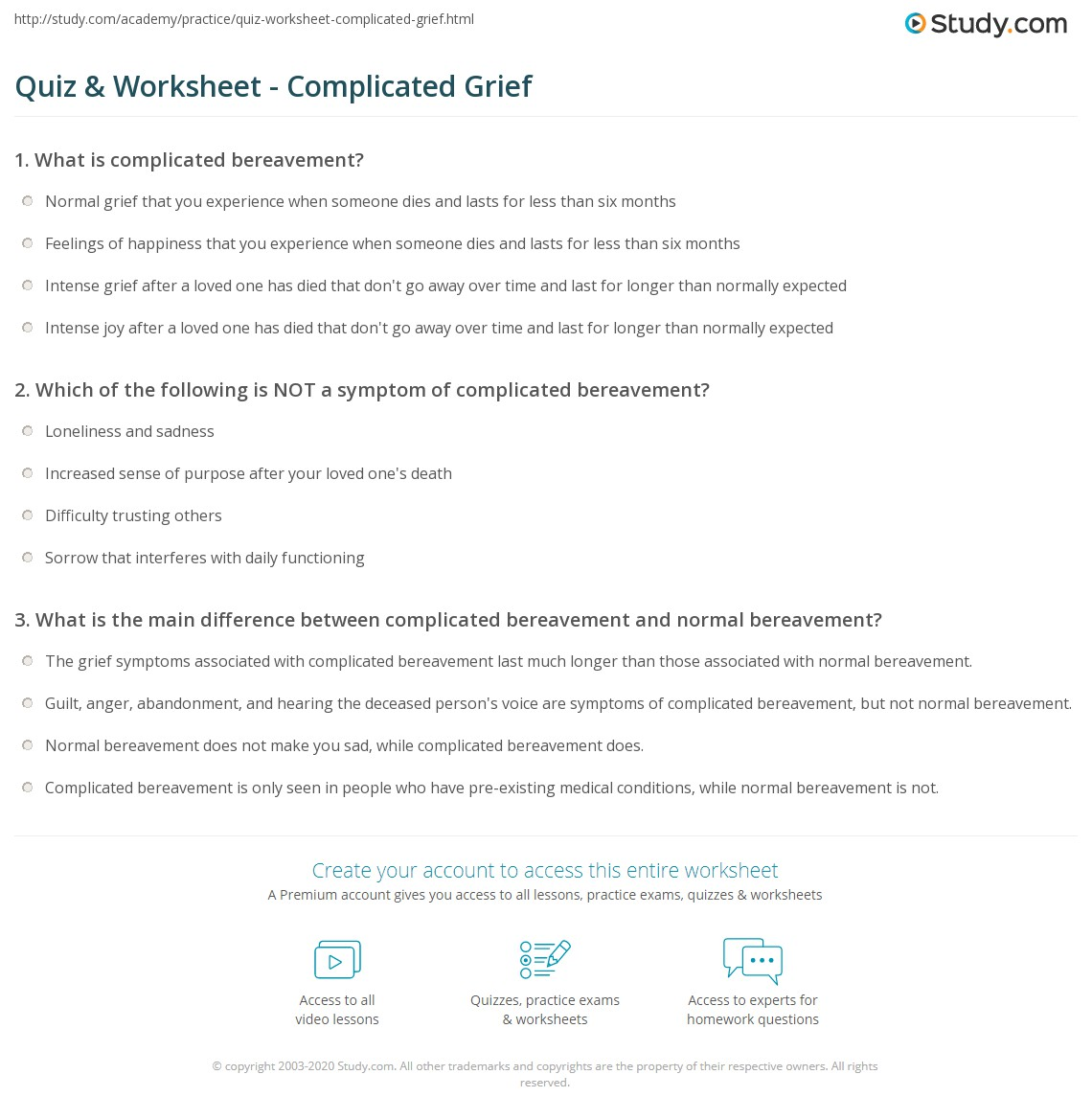 Grief And Guilt Worksheets