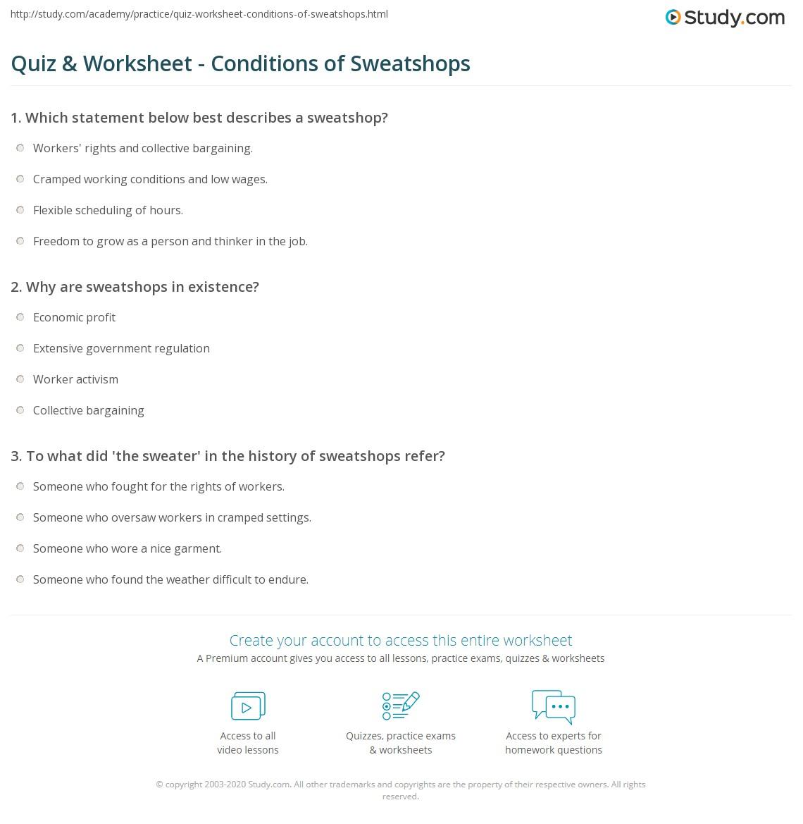Benefits Of Sweatshops