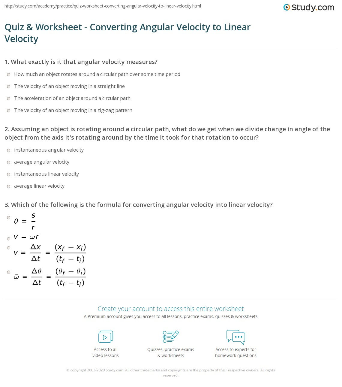 32 Angular And Linear Velocity Worksheet