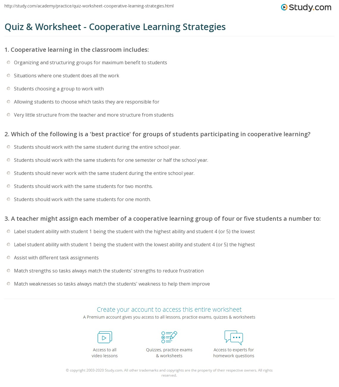 Cooperative Learning Strategies Elementary School