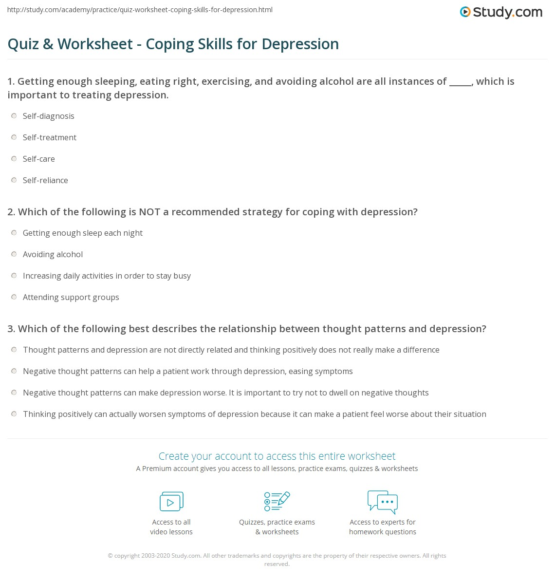 Positive Coping Skills Worksheets