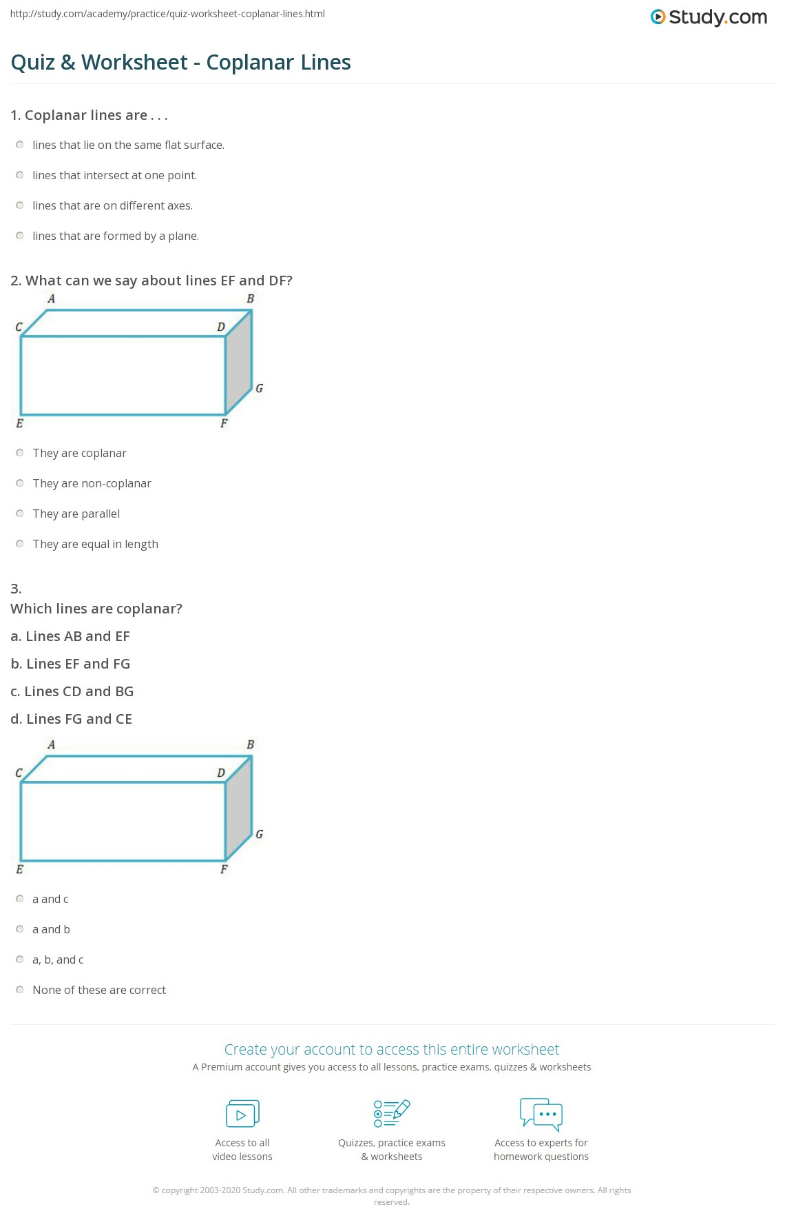 Worksheet Points Lines And Planes Answers