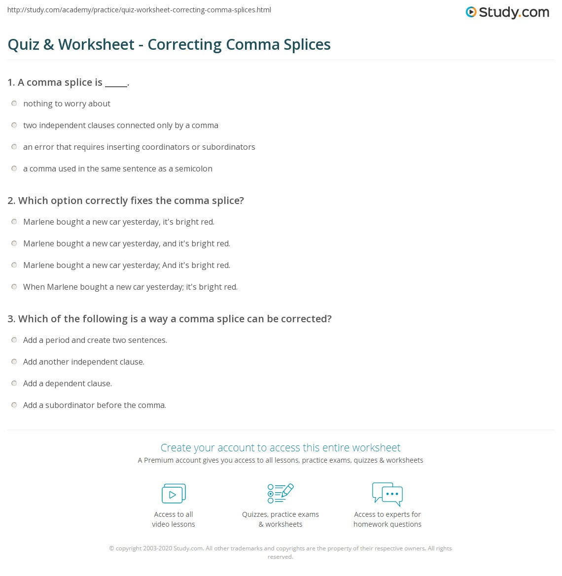 Worksheet For Comma Splices