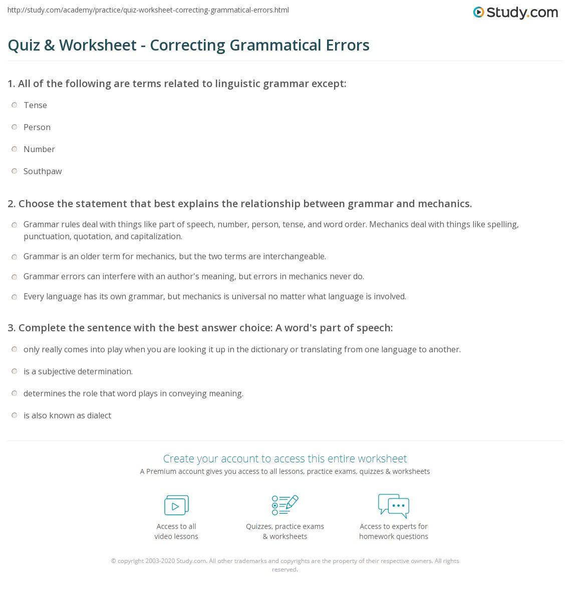 Worksheet Grammar Correction Worksheets Grass Fedjp Worksheet Study Site