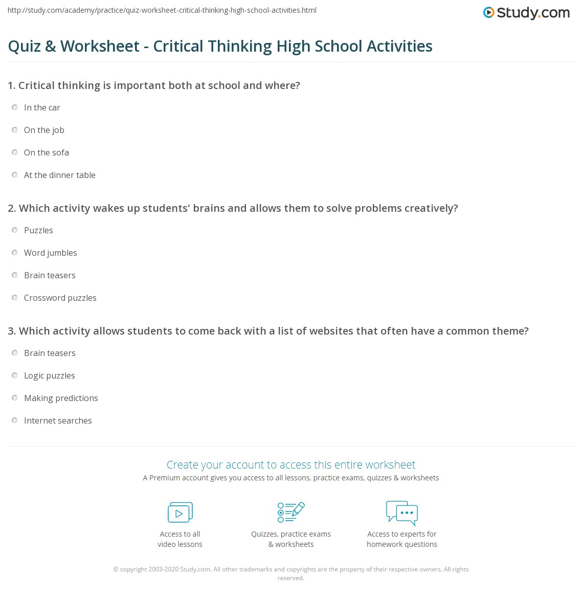 Critical Thinking Activities For Secondary Students