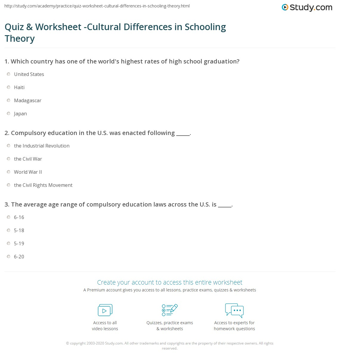 Quiz Amp Worksheet Cultural Differences In Schooling Theory