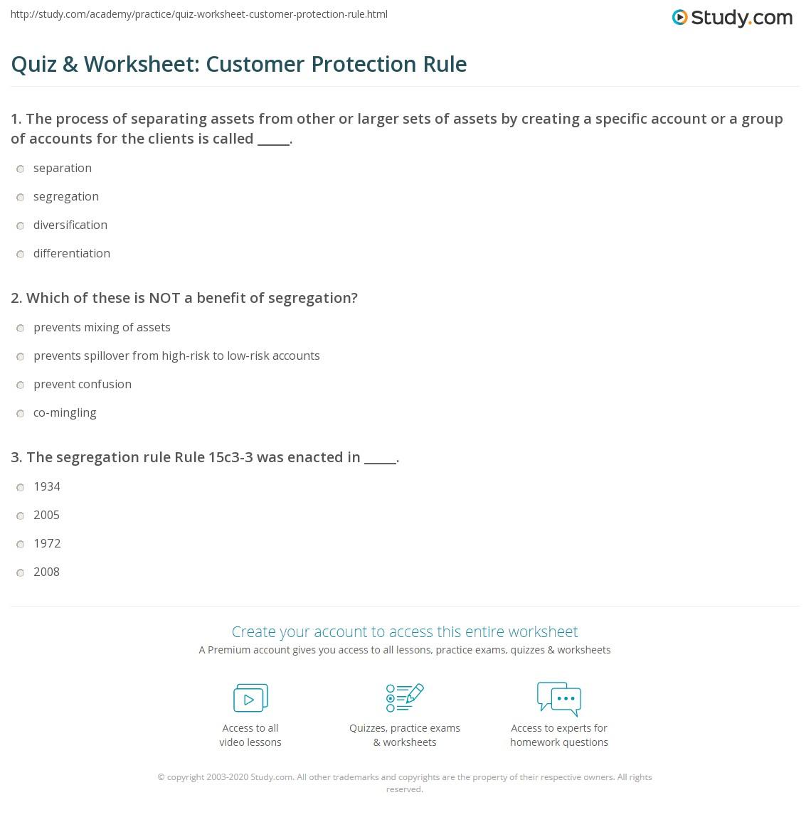 Quiz Amp Worksheet Customer Protection Rule