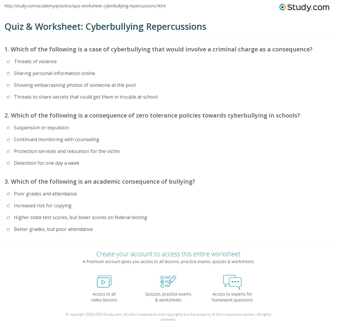 Quiz Amp Worksheet Cyberbullying Repercussions