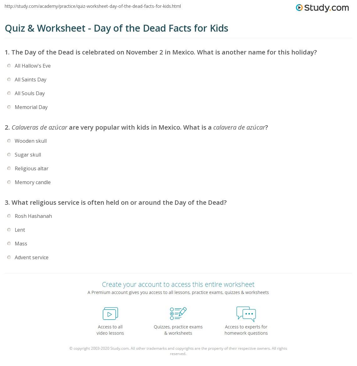 Quiz W Ksheet D Y Of De D F Cts Kids Study
