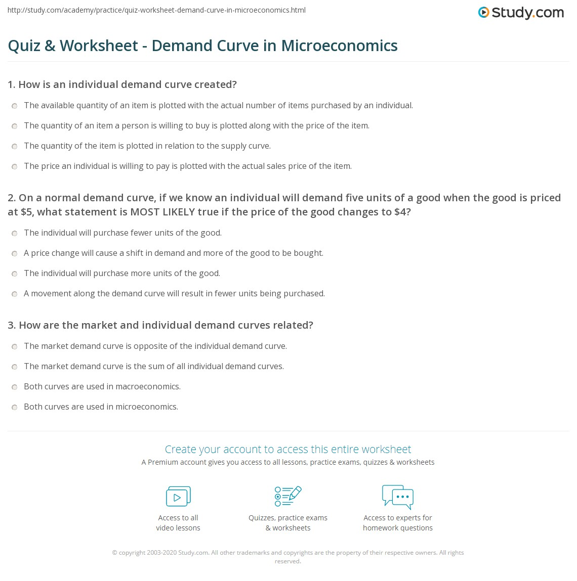 Understanding Demand Worksheet Answers