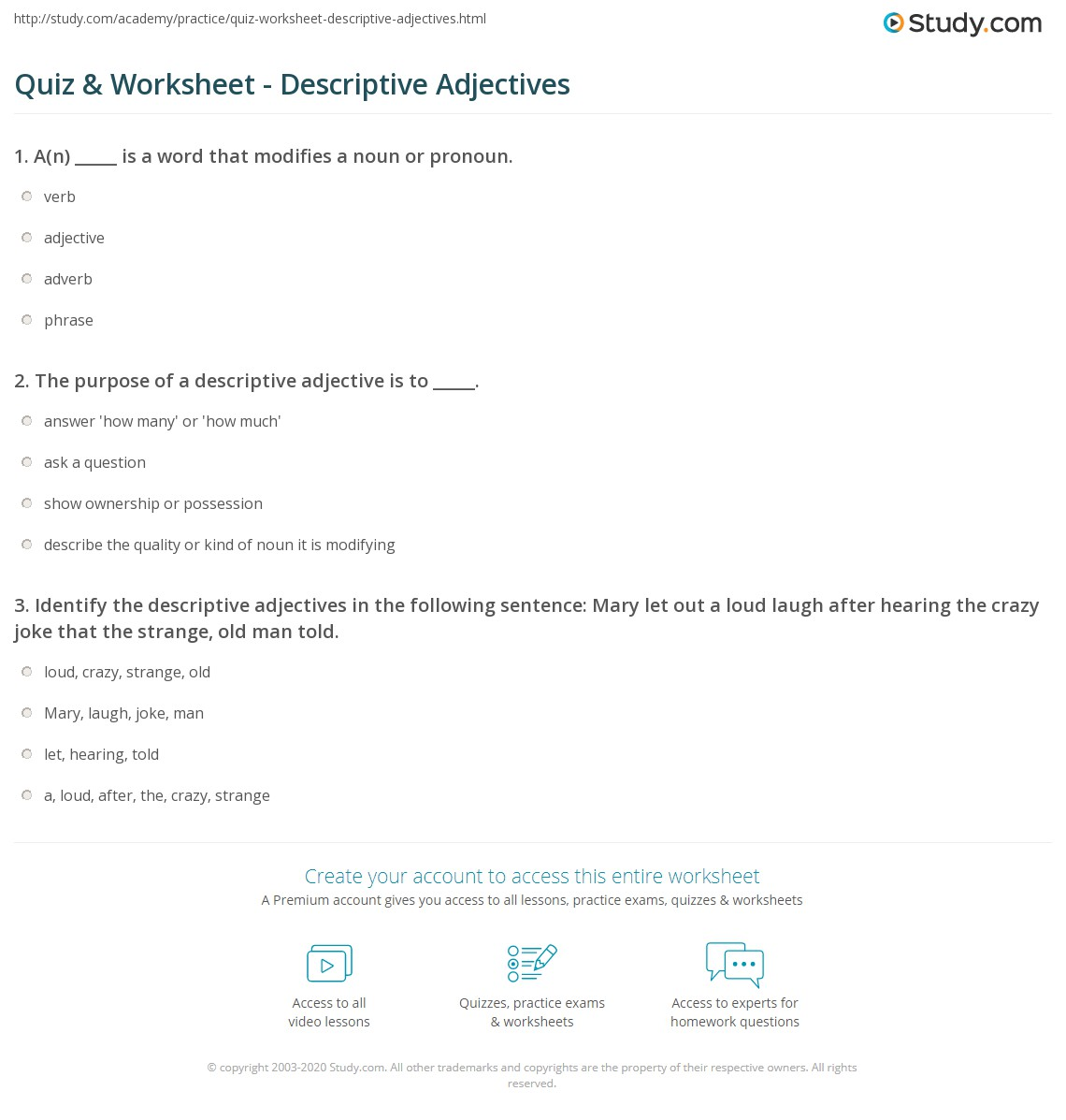 Descriptive Adjectives Worksheets For Grade 4