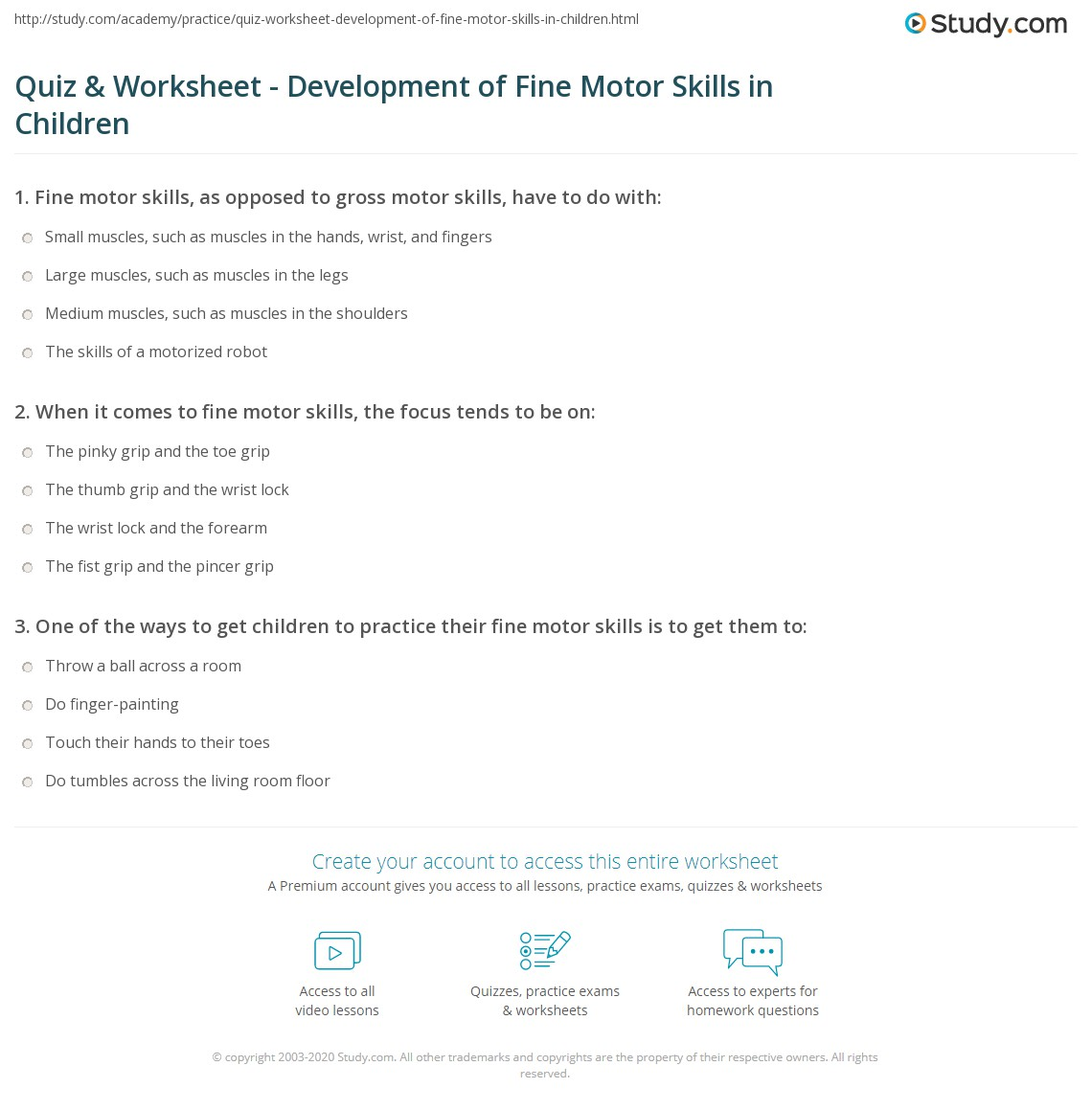 An Example Of A Fine Motor Skill Is Quizlet