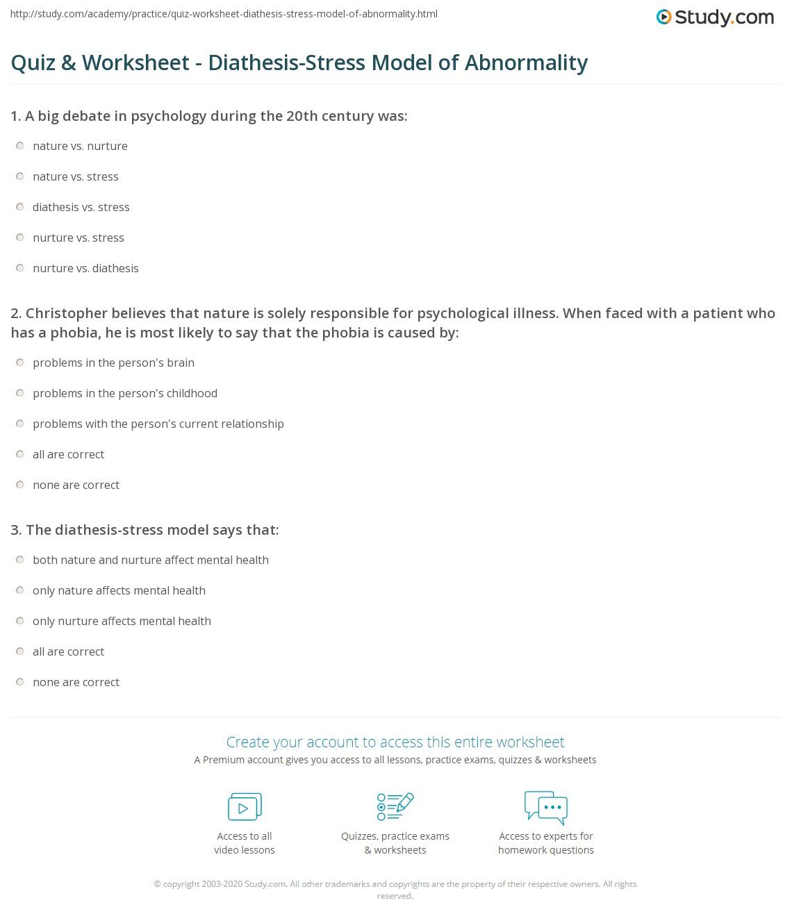 Mental Illness Understanding Mental Illness Worksheet