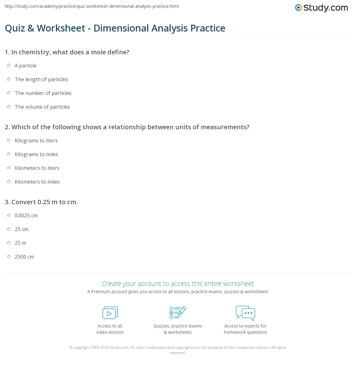 Chemistry Dimensionalysis Worksheet Answers