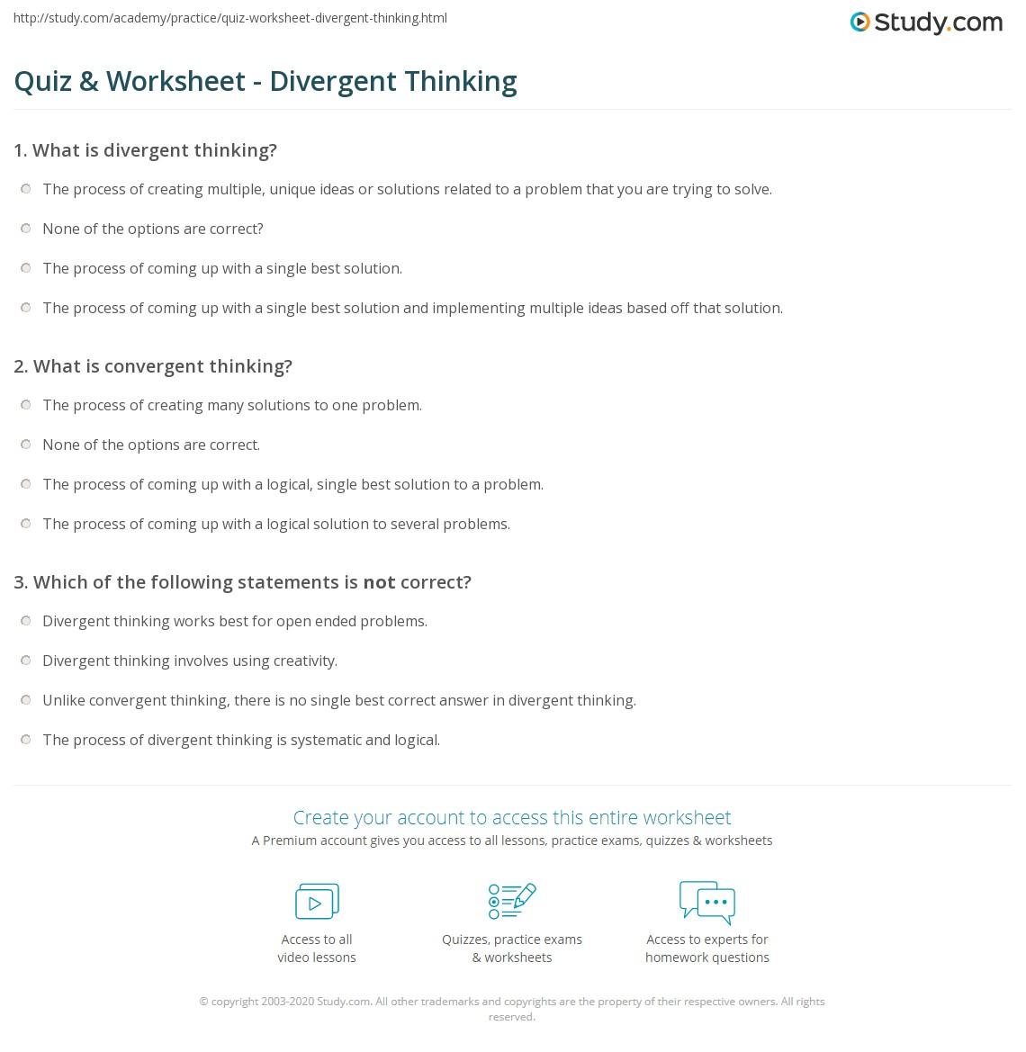 Convergent Reasoning Worksheet