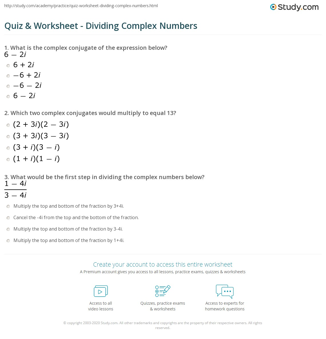 Worksheets Complex Numbers Worksheet Cheatslist Free