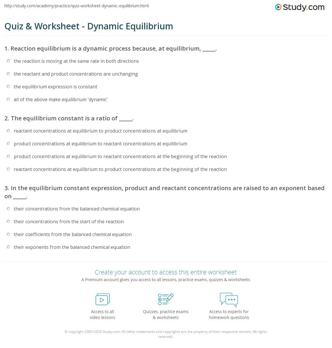 Kinetics Equilibrium Worksheet