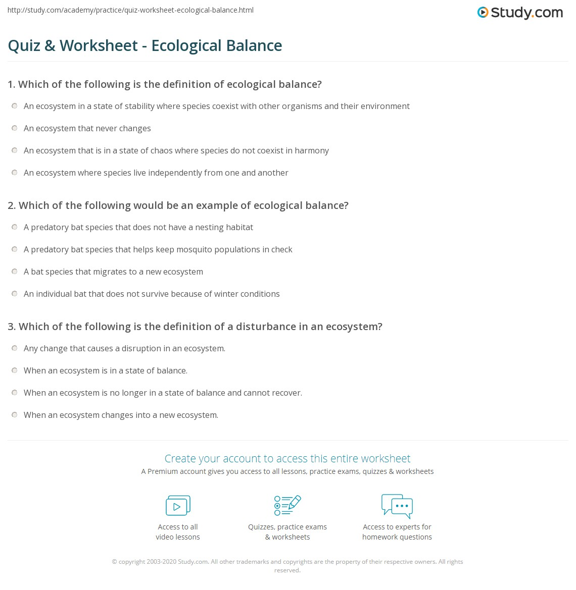 Ecosystem Worksheet With Answer Key