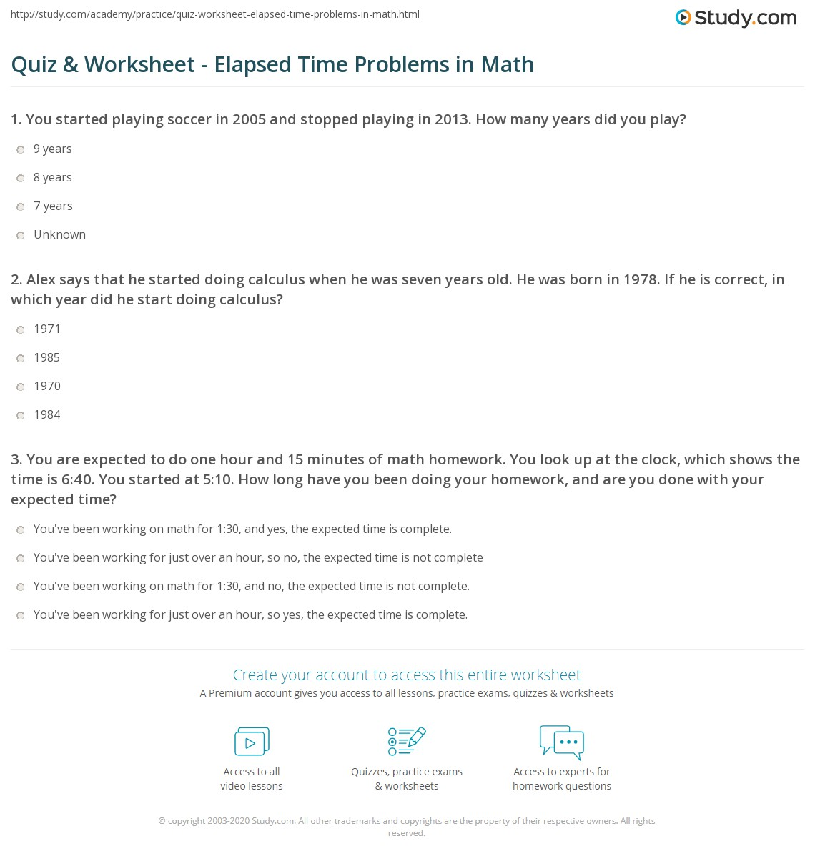 Worksheet Elapsed Time Problems
