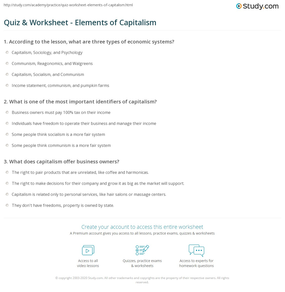 Pictures Capitalism Worksheet