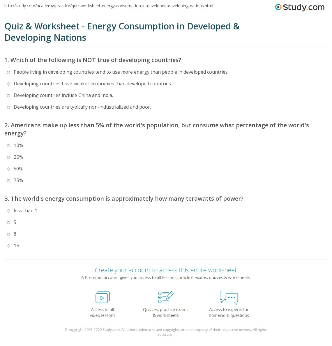 Quiz W Ksheet Energy C Sumpti Developed Develop G
