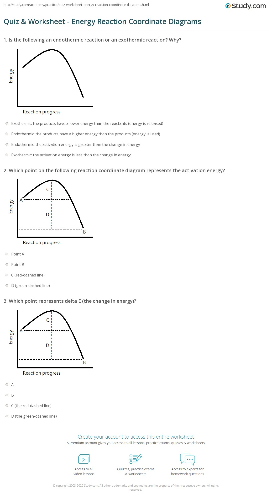 Chemistry 12 Worksheet 1 2 Potential Energy Diagrams Answers