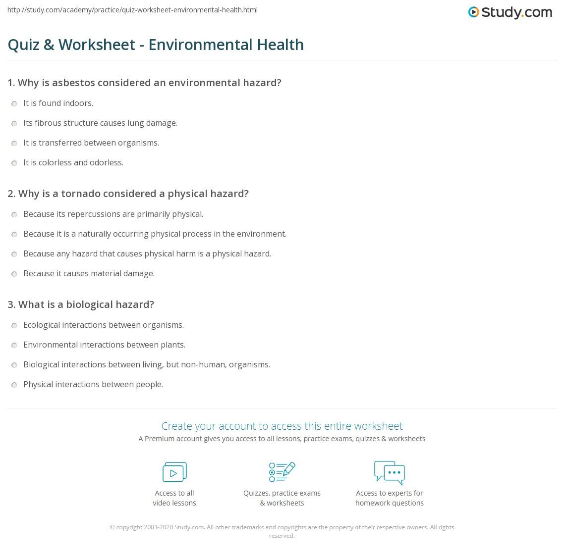 Quiz W Ksheet Envir Ment L He Lth Study