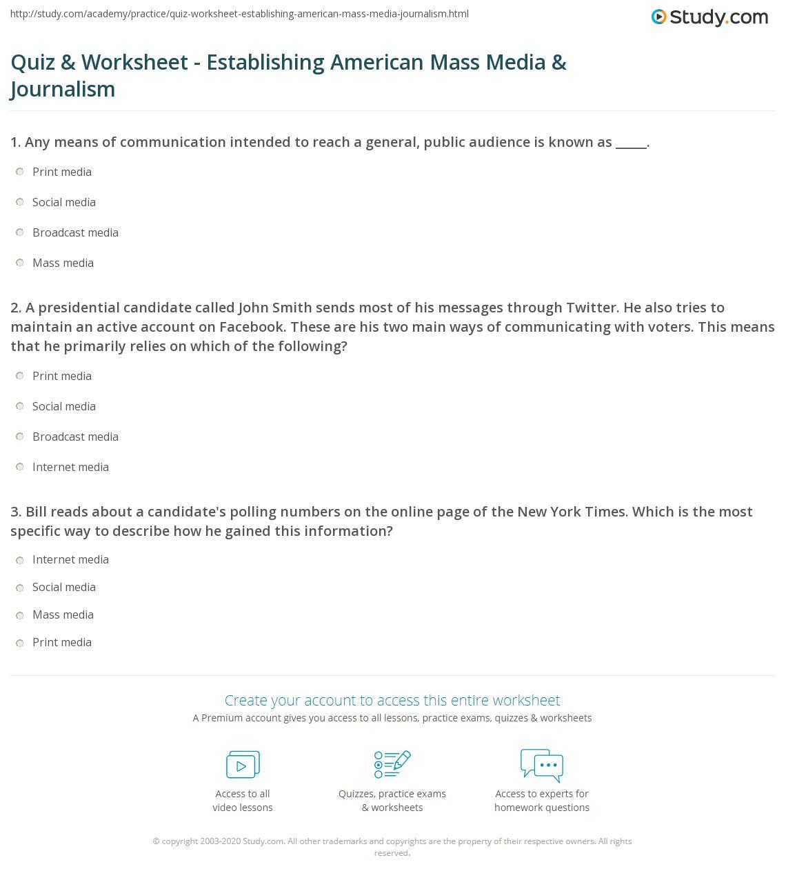 Journalism Lesson Worksheet