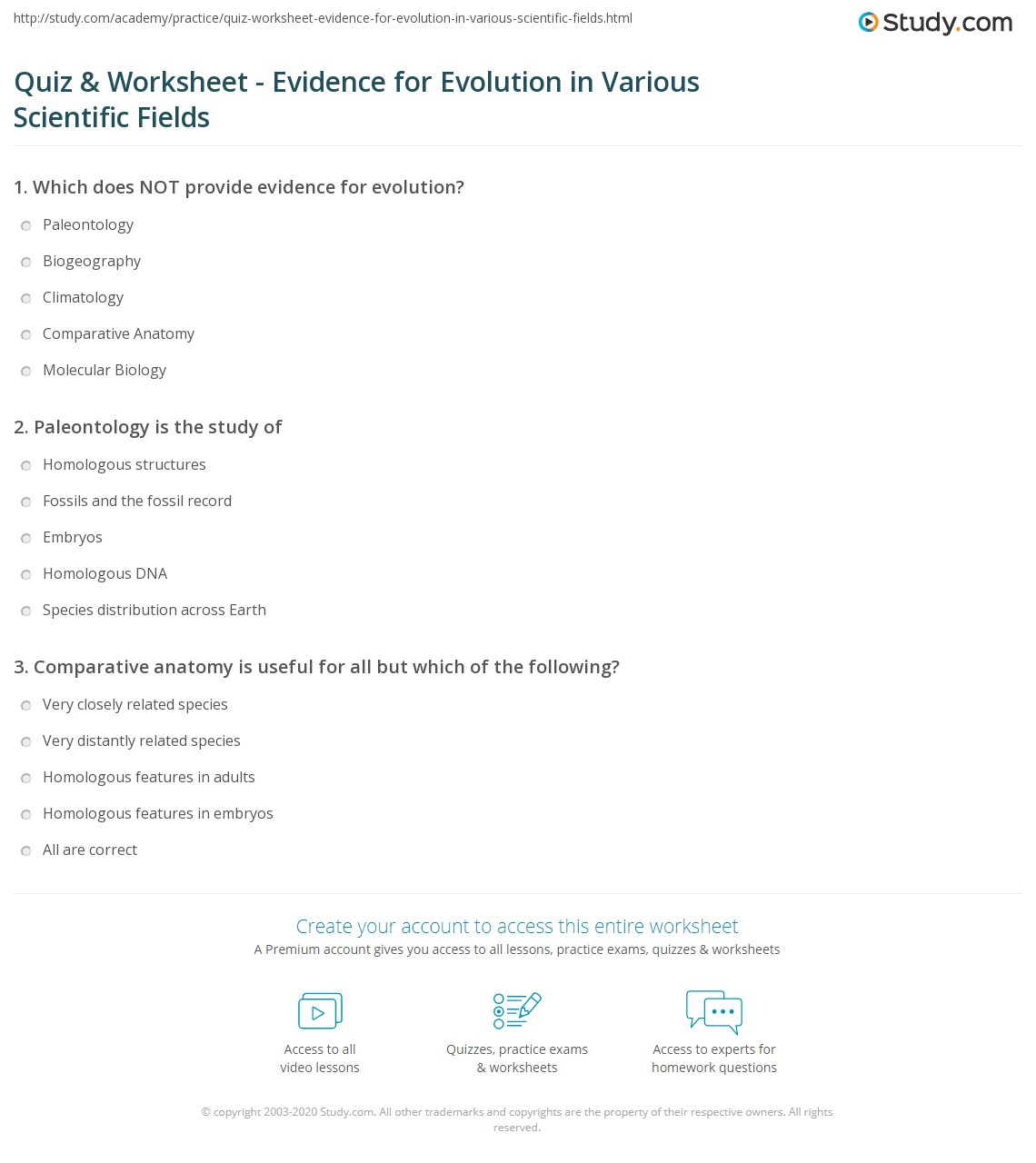 Evidence Of Evolution Worksheet