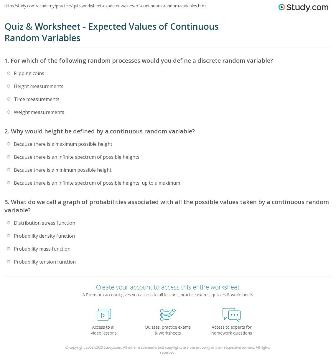 Worksheets Expected Value Worksheet Cheatslist Free