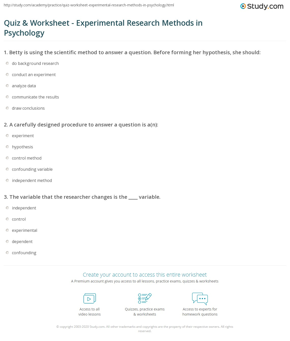 Experimental Design Worksheet Answers Psychology