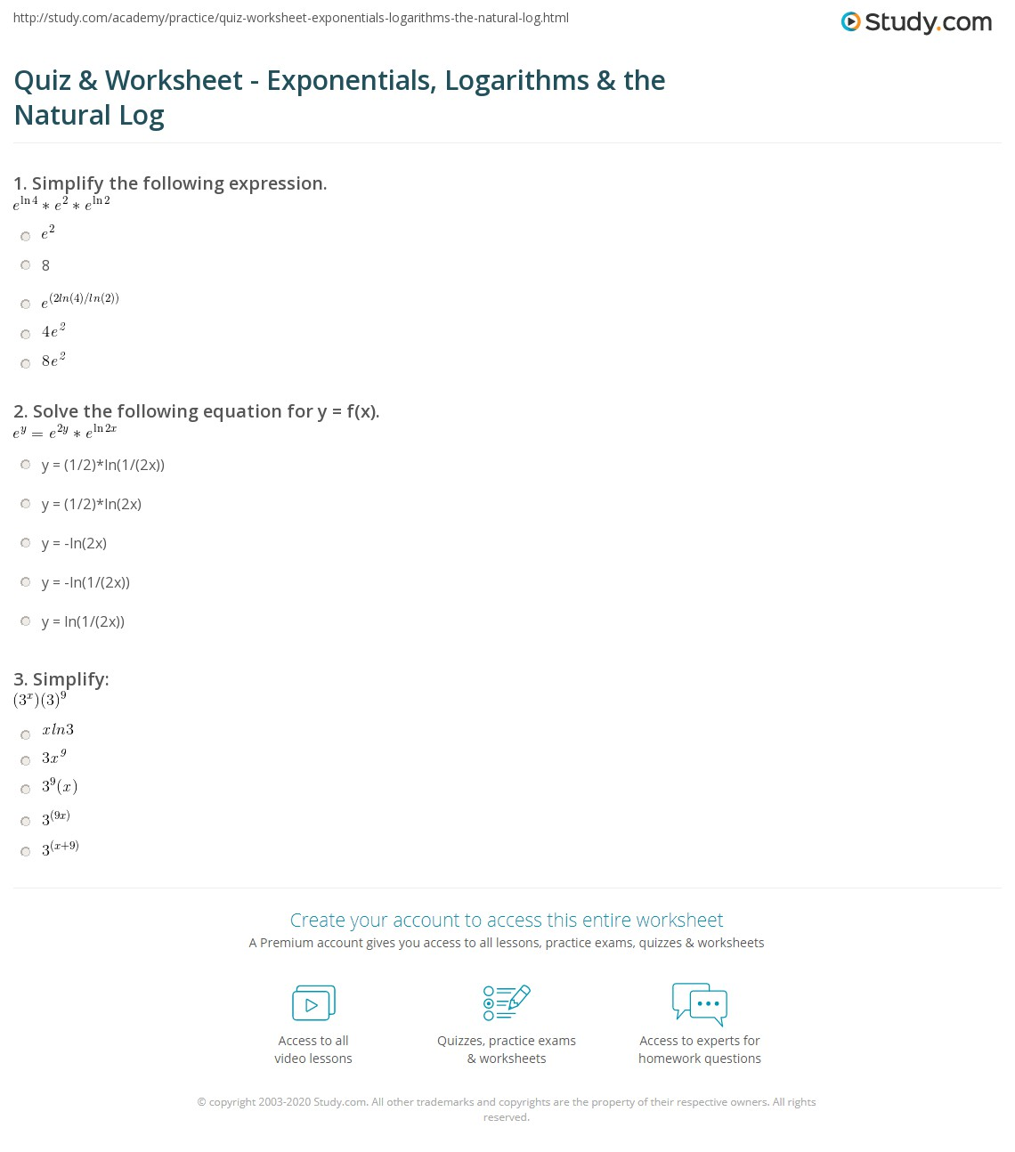 Worksheet On Logarithms