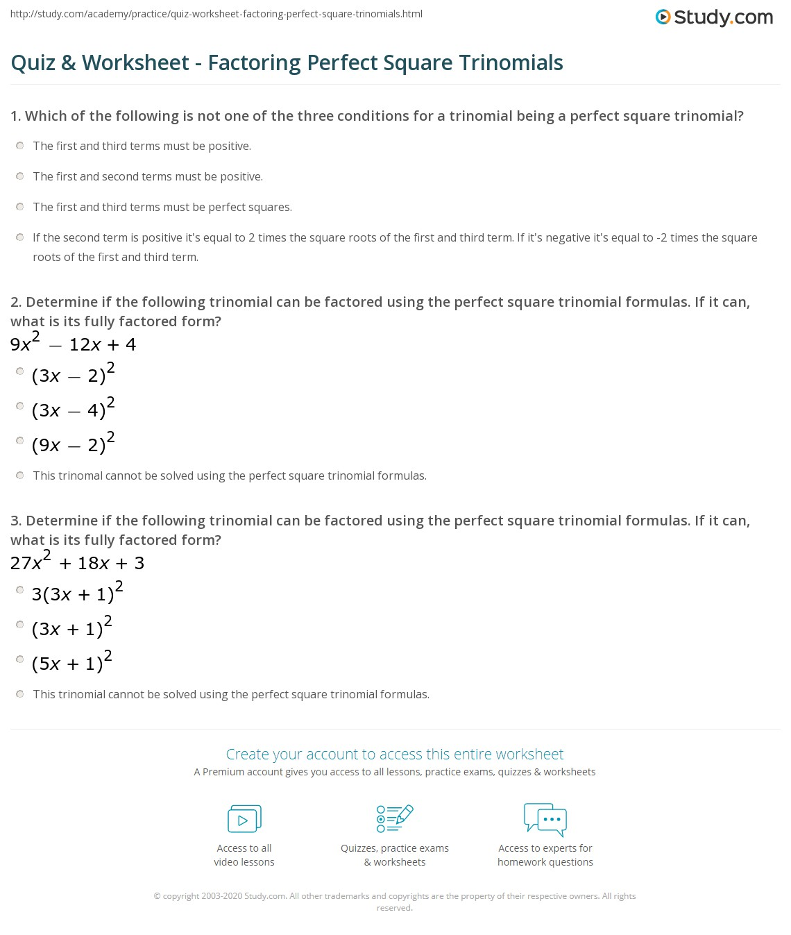 Perfect Square Trinomials Take Home Worksheet Help