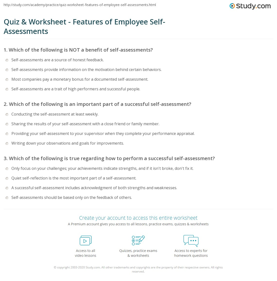 Example Of Employee Self Assessment