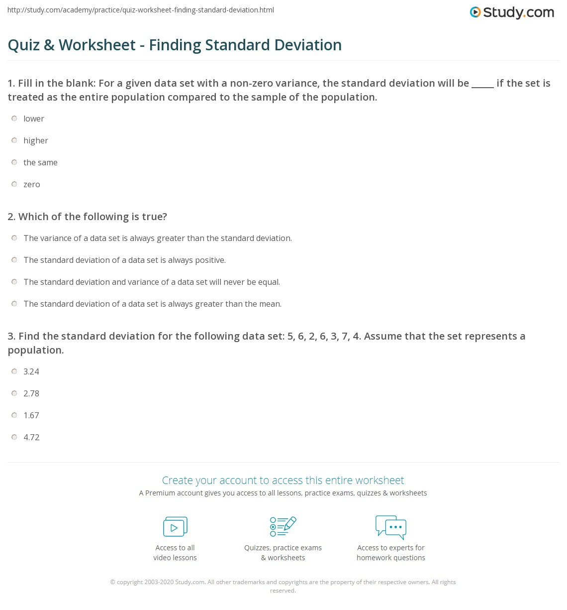 32 Variance And Standard Deviation Worksheet