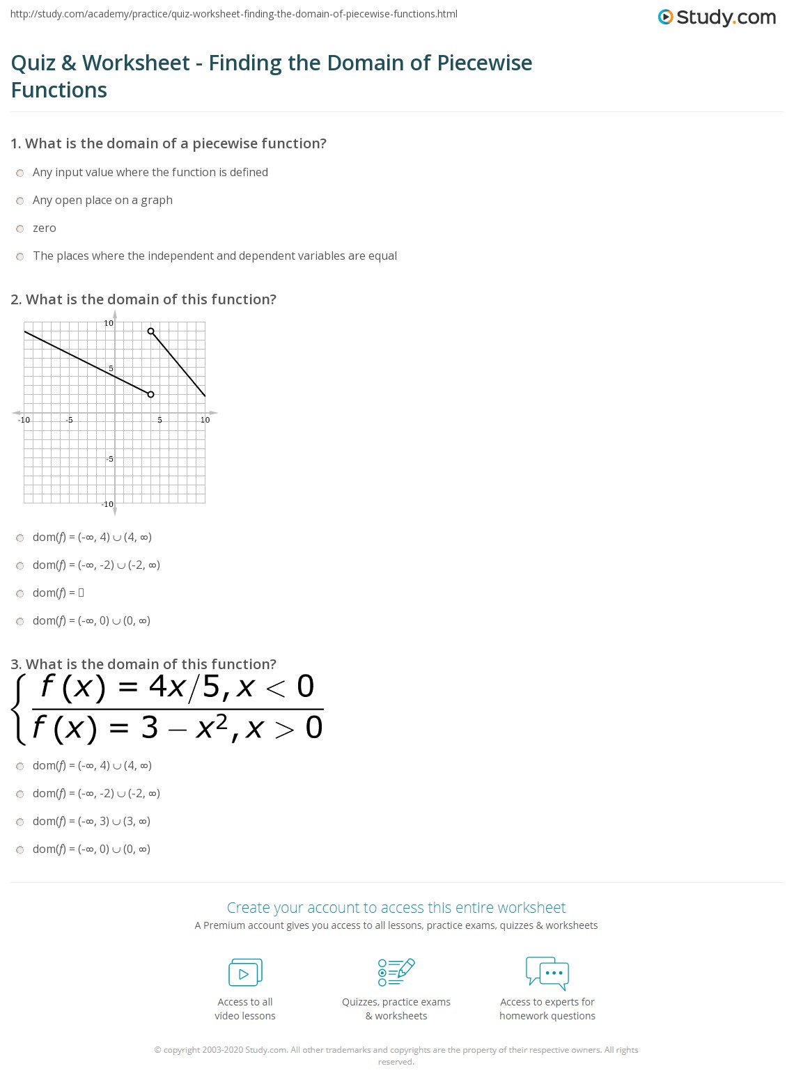 Piecewise Functions Worksheet Answers