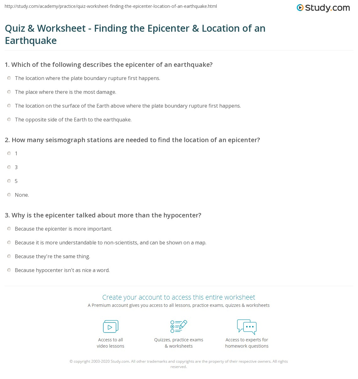 Locating An Earthquake Epicenter Worksheet Answers