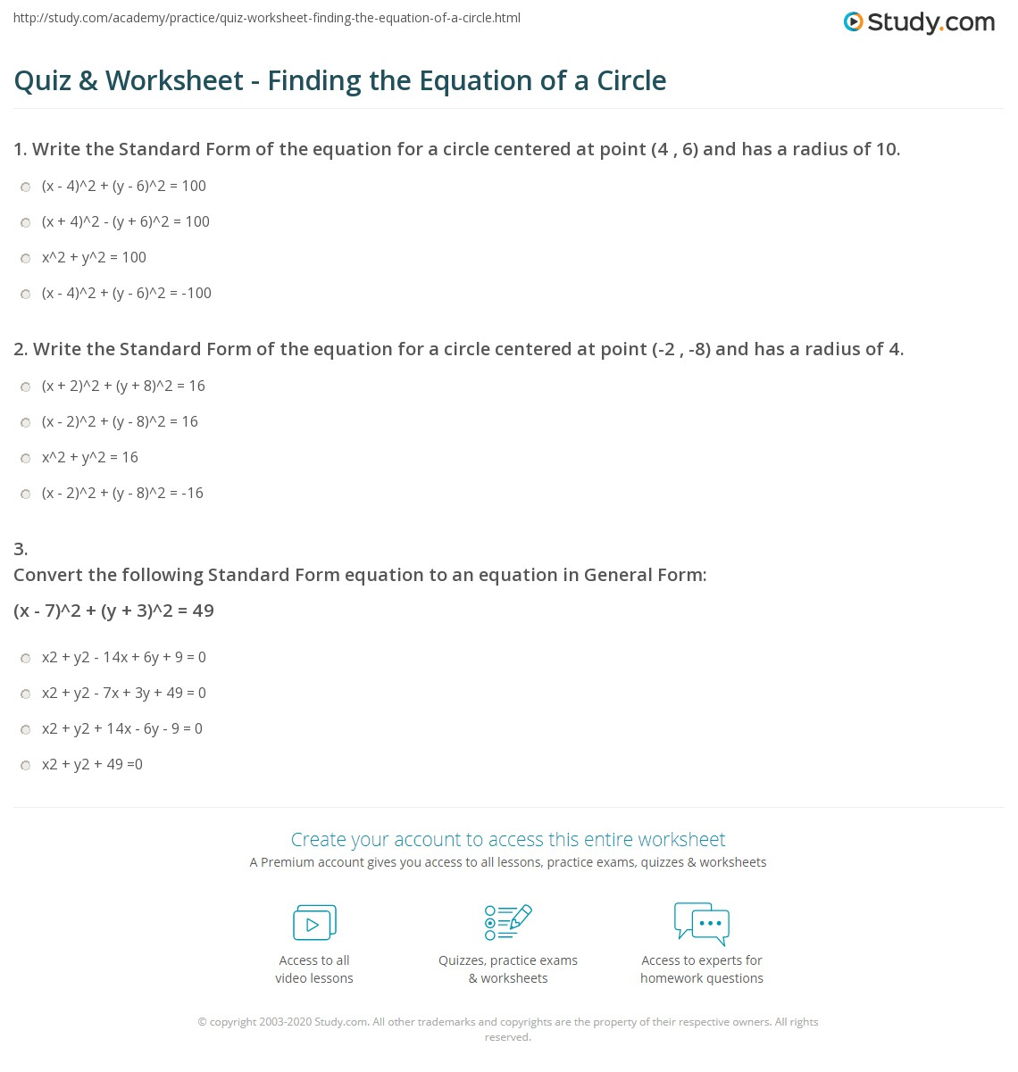 Writing Equations Of Circles Worksheet Answers