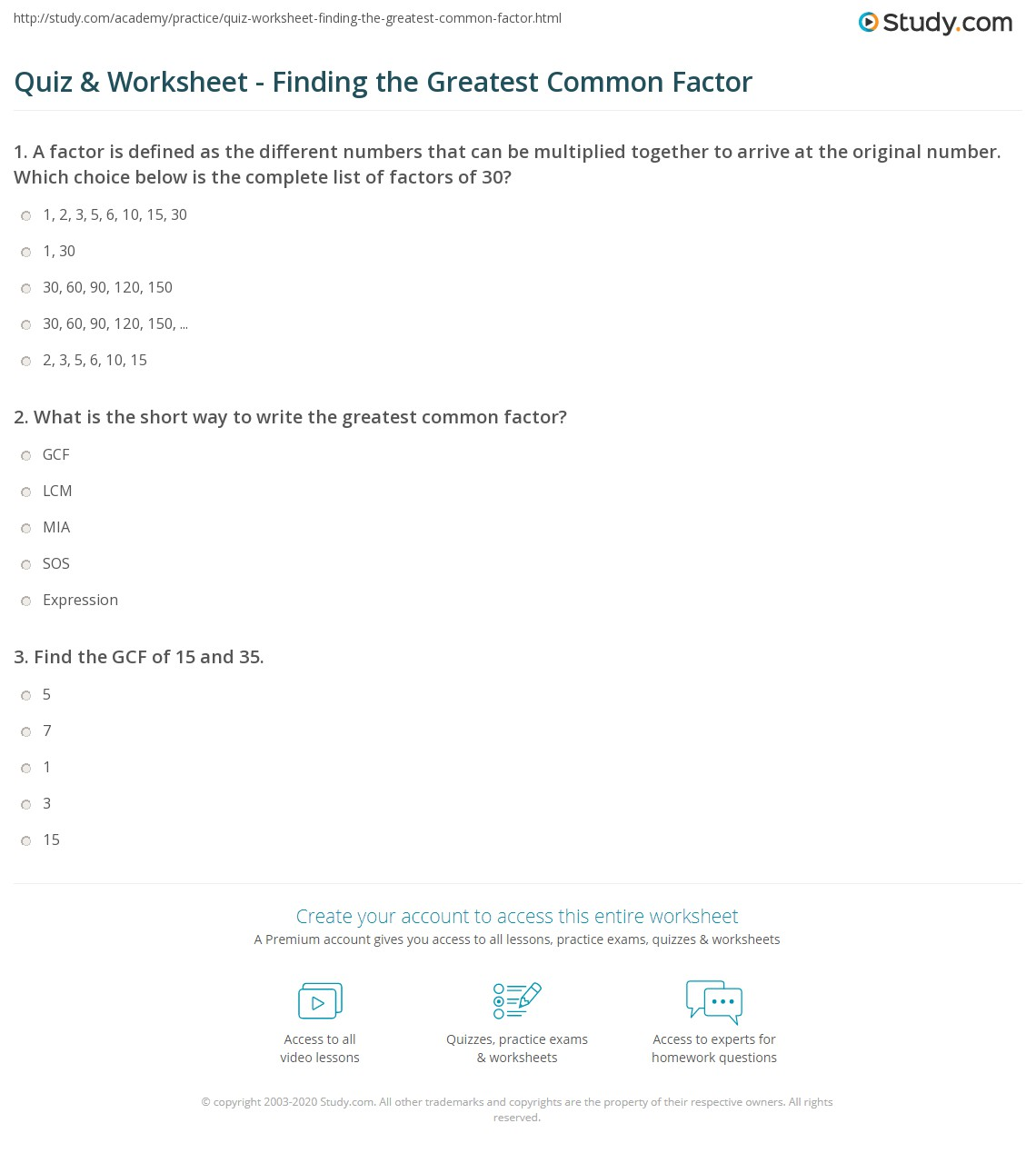 30 Greatest Common Factor Worksheet