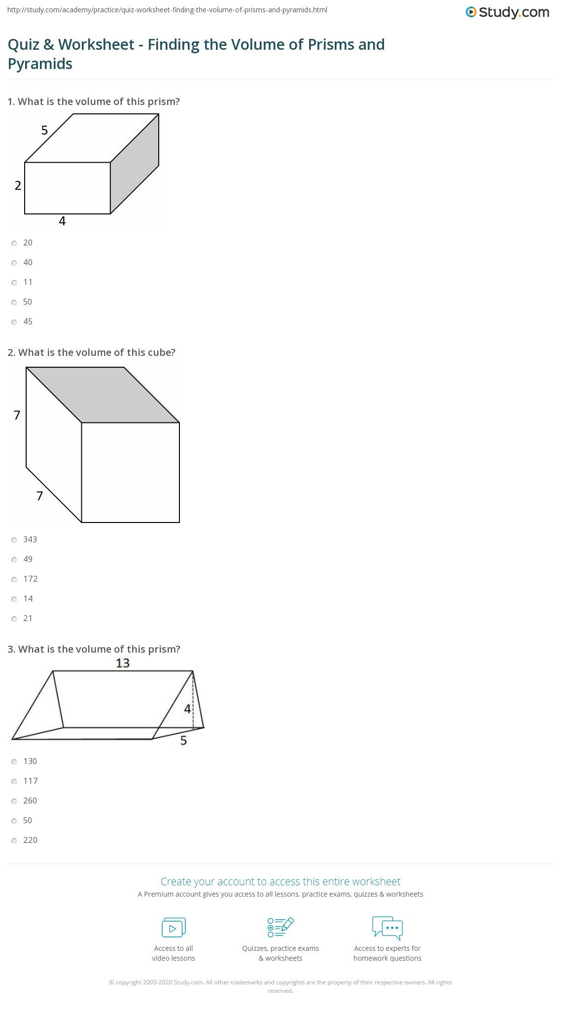 Printables Of Worksheet Volume Of Prisms And Pyramids