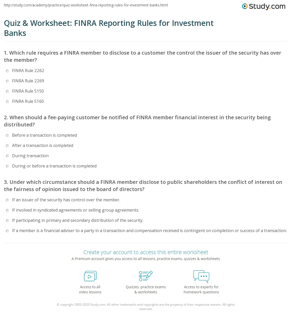 Quiz Amp Worksheet Finra Reporting Rules For Investment