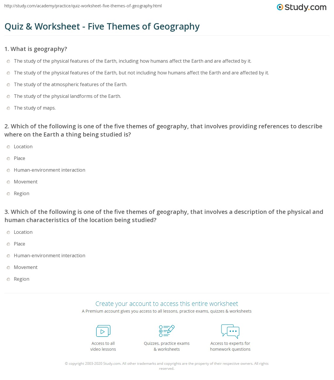 A Geographer S World Worksheet Answers