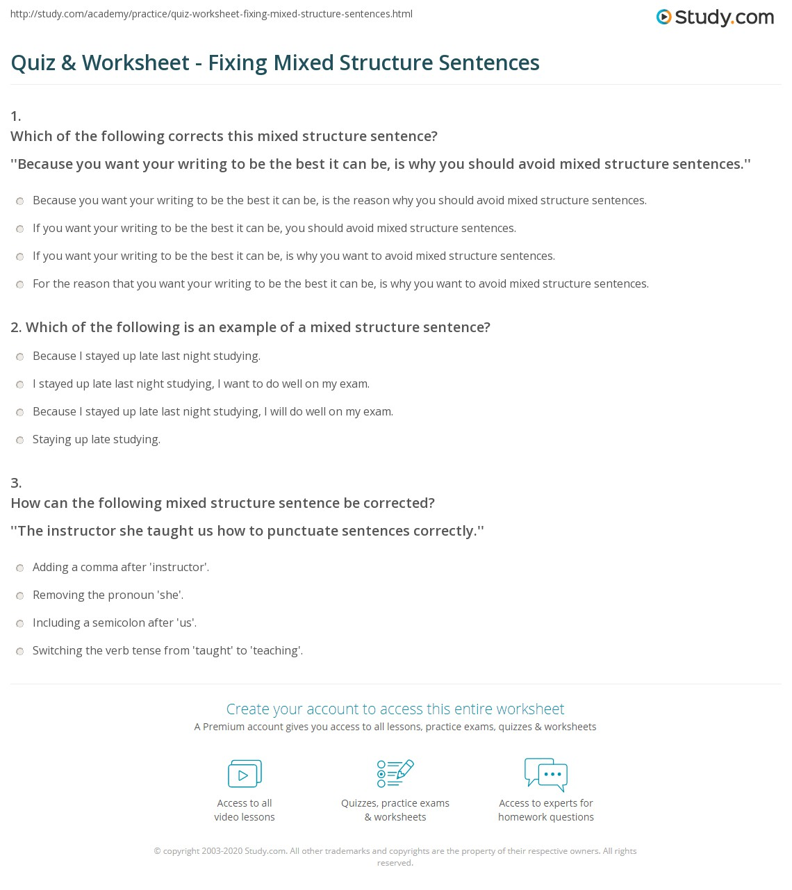 31 Worksheet Sentence Structure Practice